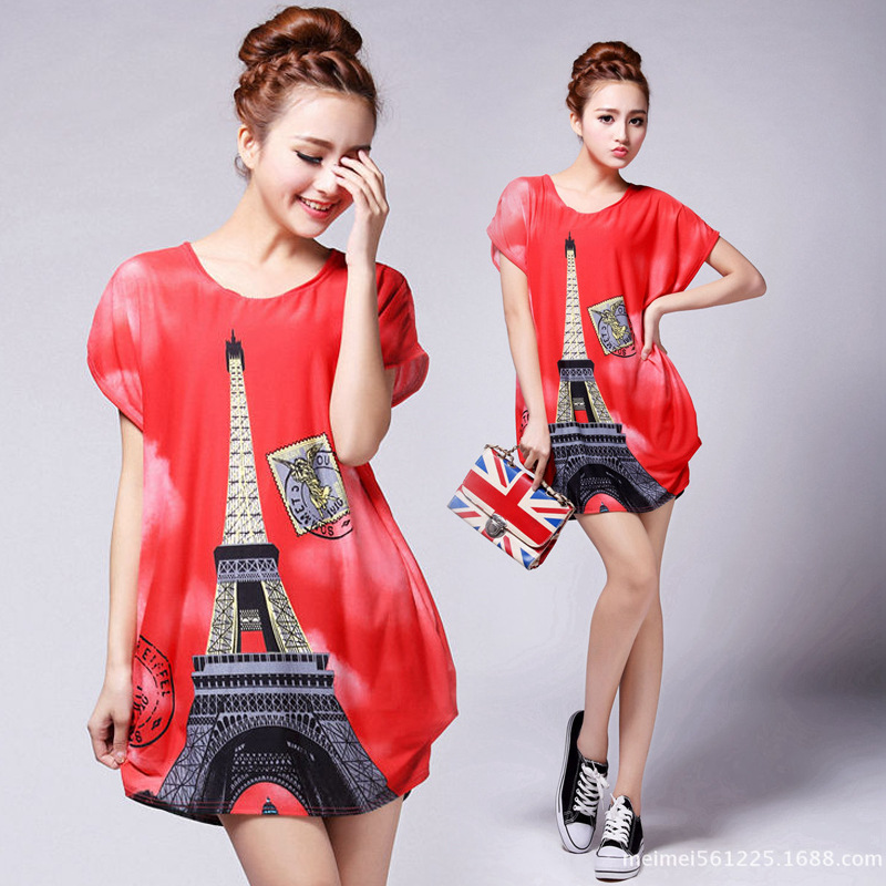 Brand Special Offer Time-limited Large Size, Printing 2014 Spring New, Fat People Plus Fertilizer To Increase, Was Thin Dress(China (Mainland))