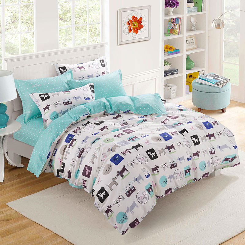 Home Textile Cartoon Kids Reactive Printing 100% Cotton 4 Pieces tree Queen Size Bedding Set Duvet Covers Soft Bed Sheets(China (Mainland))