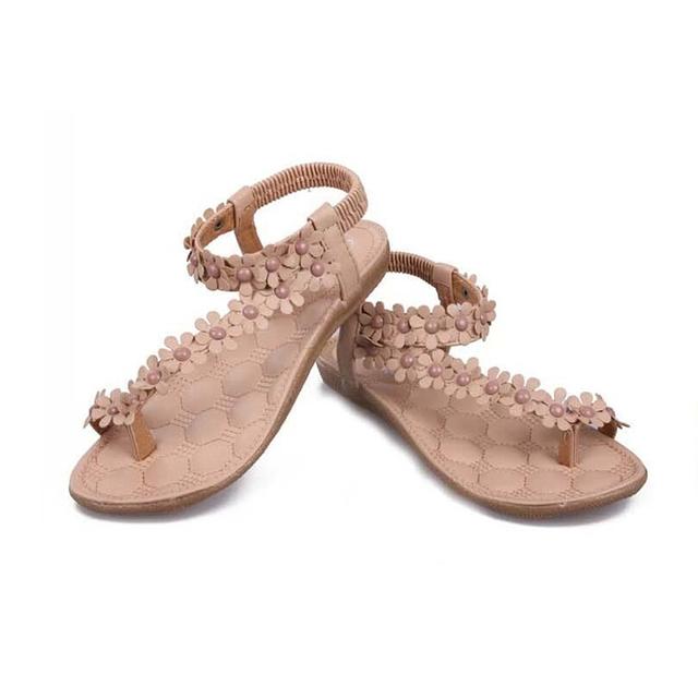 Горячие продаж летние сандалии женщин 2016 мода богемия женская обувь цветок Sandalias ...