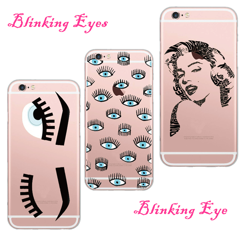 New Models High Quality Big Blinking Eyes Soft Transparent Cell Phone Case Shell Cover For Apple iPhone 5 5S 6 6S Carcasa Fundas(China (Mainland))