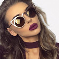 2017 Women Sunglasses Vintage Cat Eye Sun glasses Metal Alloy Eyeglasses Frames Mirror Shades Sexy Sunnies