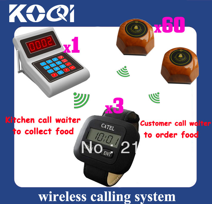Wireless Service Calling System ; Guest call waiter to order Chef call waiter to pick up order DHL Free Shipping(China (Mainland))
