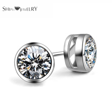 SHIPEI 2016 New Fashion Woman/Man Round Stud Earrings with 18K White Gold Plating and 0.75 Carat AAAA Imitation Shine Diamonds(China (Mainland))