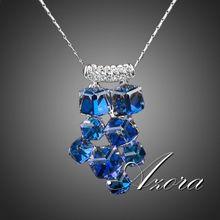 AZORA Platinum Plated 8pcs Bule Cube Stellux Austrian Crystal Pendant Necklace TN0078(China (Mainland))