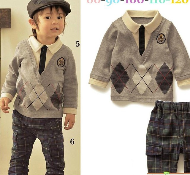 Autumn Winter Baby Boys Gentleman Plaid Sweater Coat + Woven Pants Childrens Casual Clothing Suits Toddler
