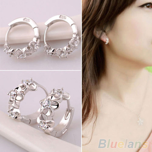 Excellent New Women 925 Sterling Silver Plated Fashion Cross Hoop Studs Earrings