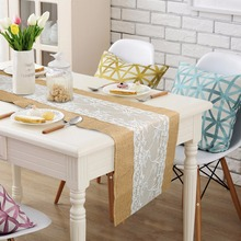Luxury Burlap and Lace Table Runner Wedding Decoration Modern Jute Lace Table Runners Vintage Tablecloth Home Textile 30x275cm(China (Mainland))