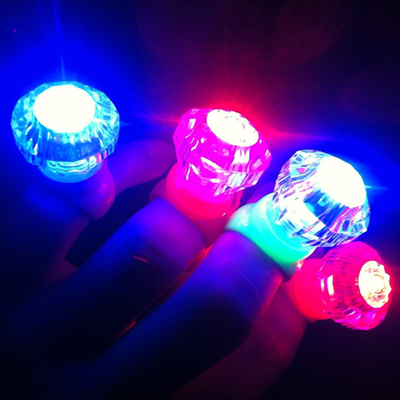 100pcs/lot Party Wedding Birthday Festival Favors Toys Small Diamond Led Glowing Finger Rings Flaring Flashing Ring Light(China (Mainland))