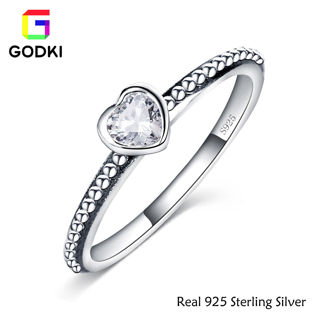 100% 925 Sterling Silver Wedding Rings For Women Simple Heart Shape Cz Diamond  Engagement Ring