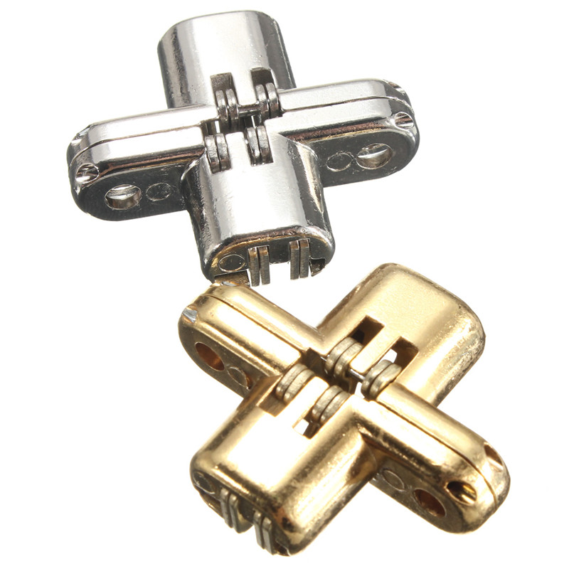 2pcs/Set Hidden Stainless Steel Invisible Concealed Cross Door Hinge for Jewelry Box Silver/Gold(China (Mainland))
