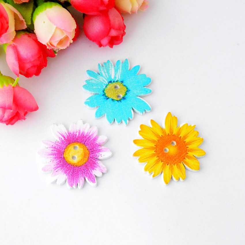 Free shipping 30pcs Random Mixed Color Wood Buttons 2 Holes Flower Shape Sewing Scrapbooking 37x35mm F0872(China (Mainland))