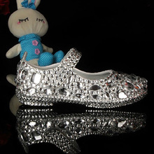 2015 Real Leather Crystal Dress Shoes For Girls Wedding Flower Girl Dress Shoes Performance Shoes Birthday Party Dress Shoes(China (Mainland))
