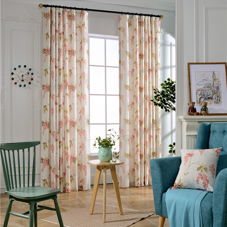 Free shipping cotton printed curtains cloth factory direct for Flowery curtains design