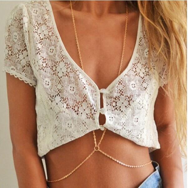 2015 New Fashion Hot Hawaiian Body 24K Gold Chain Bikini Sexy Body Chain Friends The Best