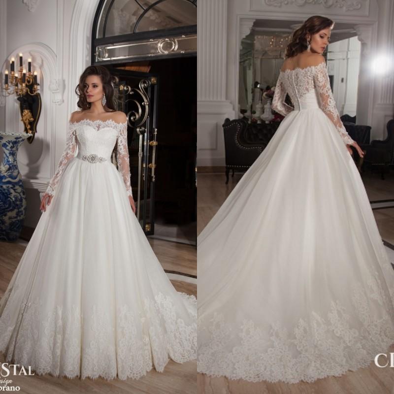 Buy long sleeves boat neck vintage ball for Boat neck long sleeve wedding dress