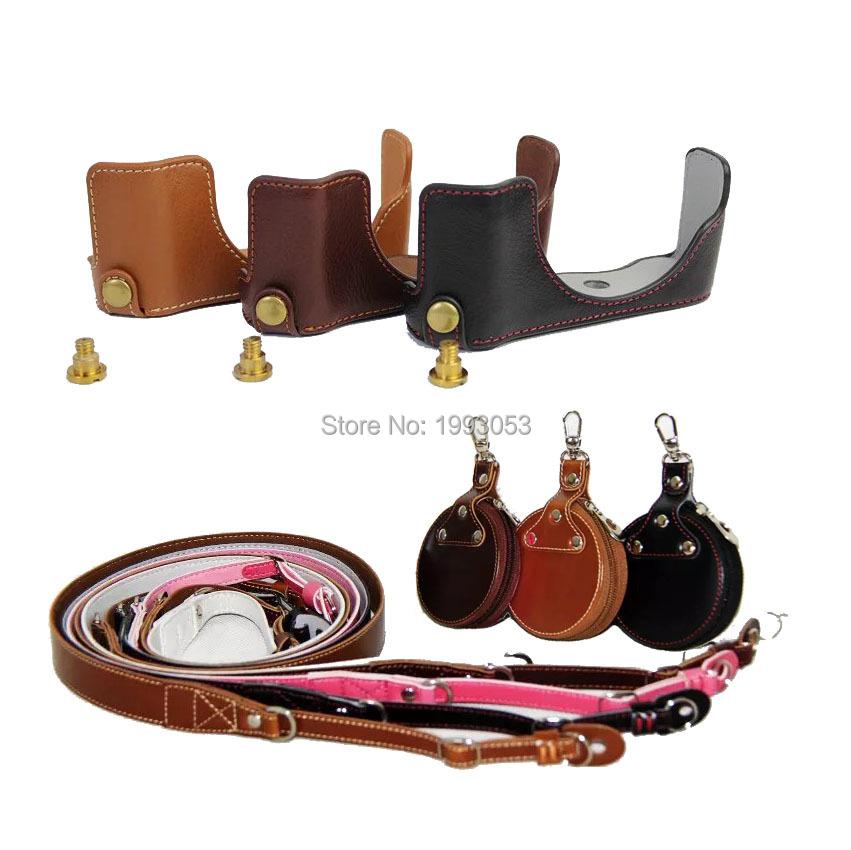 Portable Genuine Leather Half Camera Bag Cover Half Body for Panasonic GF7 GF8 + Genuine Neck Strap + Mini case(China (Mainland))