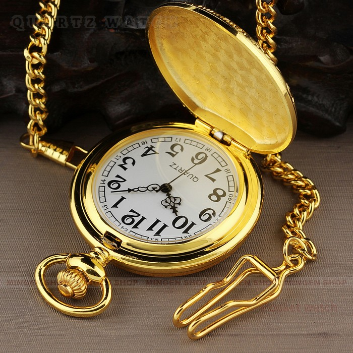 PQ094 Men s Dress Gold Round Case Quartz Pocket Watches Chain