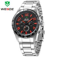 Popular estrenar WEIDE del reloj de moda de acero llena de japón reloj del cuarzo analógico mostrar Mens se divierte los relojes 30 metros a prueba de agua
