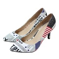 New 2016 Size 33 41 Genuine Leather Sheepskin American Flag Sexy High Heels Women Pumps Ladies
