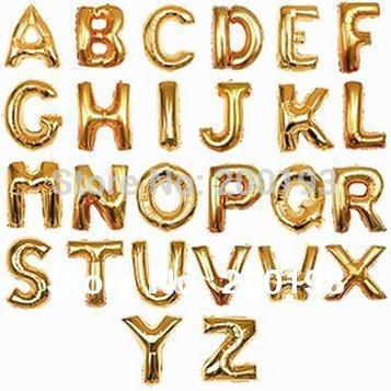 "SMILE MARKET Free shipping Medium Size 16"" Gold Foil Letter Balloons for Wedding and Party Decoration(China (Mainland))"