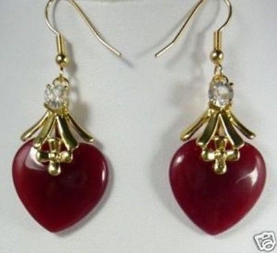 Graceful Vogue New Women ' Gold Plated Red Heart Jade Dangling Earrings 14K GOLD Plated Hook Wholesale 4pcs 2[pair] Jewelry(China (Mainland))