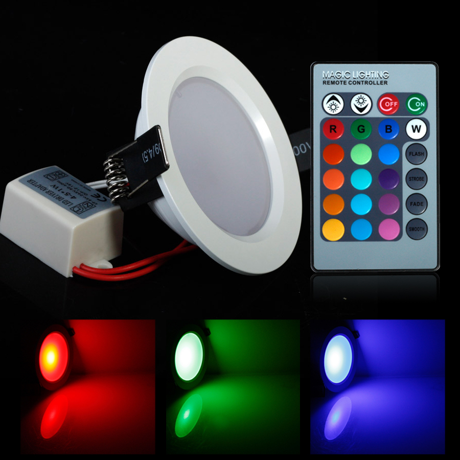 Super 5W/10W RGB LED Ceiling Panel Light AC85-265V 24Color Downlight Bulb Lamp with Remote Control Free shipping(China (Mainland))