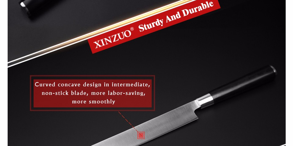 Buy XINZUO 12 inch sashimi knife with Scabbard Germany steel kitchen knives One-sided sushi knife Ebony handle free shipping cheap