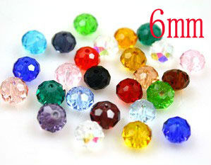 1000pcs/lot  DIY  jewelry beads /6mm MIXED Color Clear Acrylic, plastic Bead / flat Facet Beads