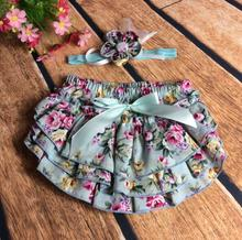 Newborn Baby bloomers Dot Floral Baby Girls Shorts+Headband Clothes Sets Baby Diaper Covers Infant Shorts Ruffles Bloomers(China (Mainland))