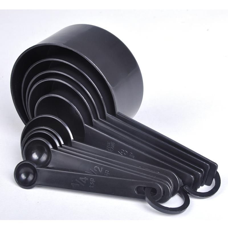 10pcs/set Kitchen Cook Black Plastic Teaspoon Scoop Measuring Spoons Cups Measuring Set Tools zJJ0317W(China (Mainland))