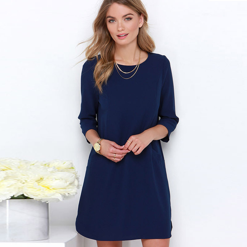 2015 Autumn Fall Casual Dress Three Quarter Plus Size Shirt Dress Pure Color Straight Women Clothing Vestido Casual(China (Mainland))