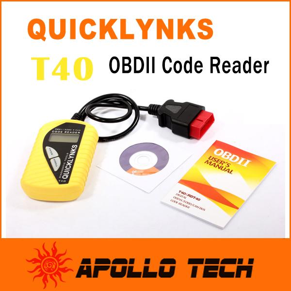 High quality Leagend QUICKLYNKS Multi-language CAN OBDII Scanner T40 Code Reader Auto Diagnostic Tool OBD2 EOBD JOBD(China (Mainland))