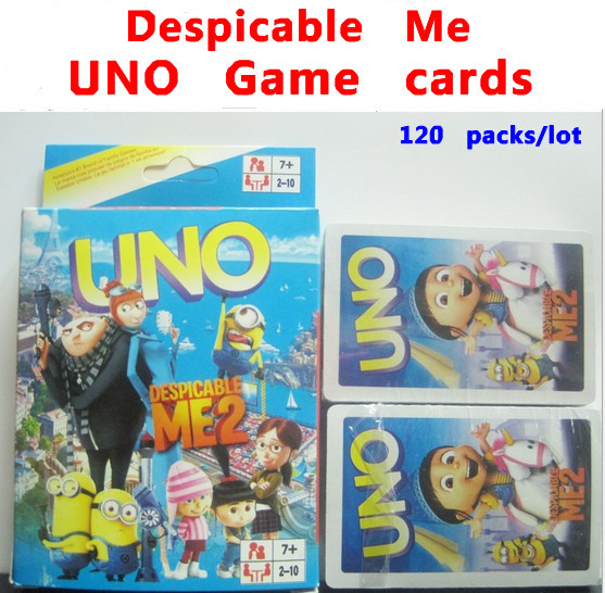 wholesale 120packs/lot Despicable Me 2 UNO game cards Board game poker Family Games color box free shipping(China (Mainland))