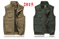 free shipping 2015 New high quality  Multi-pocket men Vest Men's Outdoor Waistcoat Fishing Vest Photography Coats & Jackets