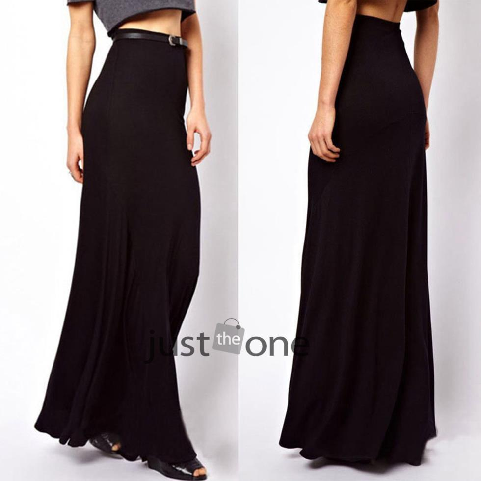 2015 new arrival fashion casual women summer sexy strech cotton bust casual skirt long skirts black maxi Skirt 54(China (Mainland))