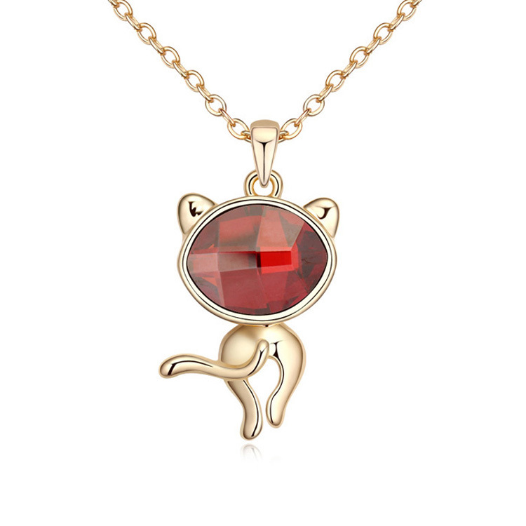 Pleasant rose gold plated cat pendant necklaces made with Swarovski Elements fashion women Joker necklace sweet jewellery(China (Mainland))