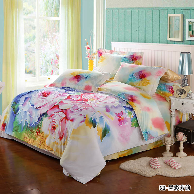Fresh 4pcs Colorful Rose Comforter Bedding Sets Romantic For Adult Full Size In Bedding Sets