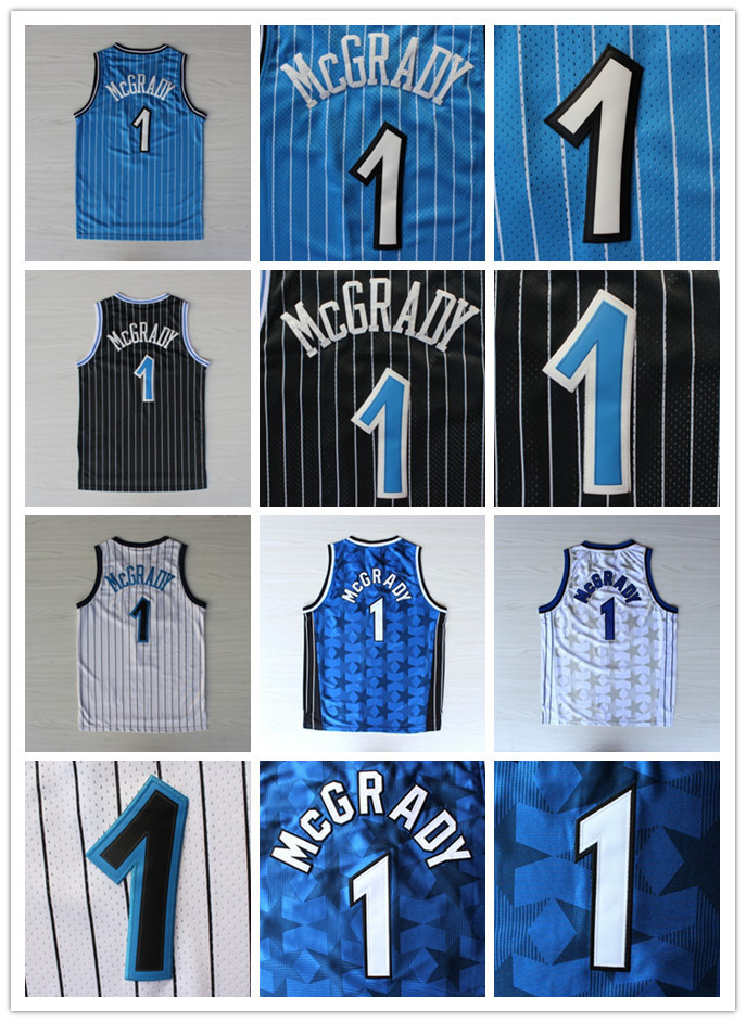 Tracy Mcgrady magico # 1 pulober retro black white blue line all-star field coat best basketball jersey in the United States(China (Mainland))