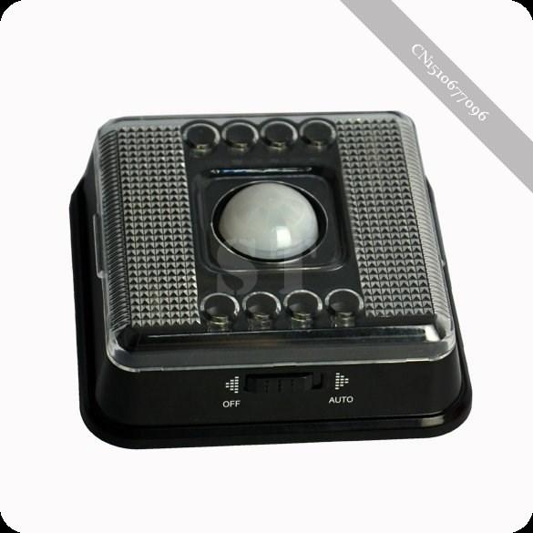 drahtlose infrarot 8 led lampe pir auto sensor bewegung akku schwarz in Artik -> Led Lampe Infrarot