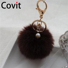 Covit Super Fofo Mulheres Keychain Chave Anéis Da Cadeia de Bola De Pêlo Pompom Bonito Ornamentos Pingente Carro Acessórios Saco de presente de Natal(China)