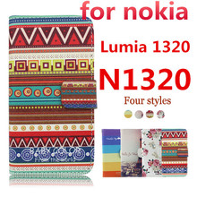 For nokia Lumia 1320 PU Leather flip wallet phone case FOR N1320 leather case,free shipping,Cross Wallet cover,High Quality(China (Mainland))