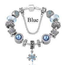 2016 Fashion Silver Women Friendship Charm Bracelets Bangles Snowflake Pendants Charms Bead fit European Pandora Bracelets(China (Mainland))