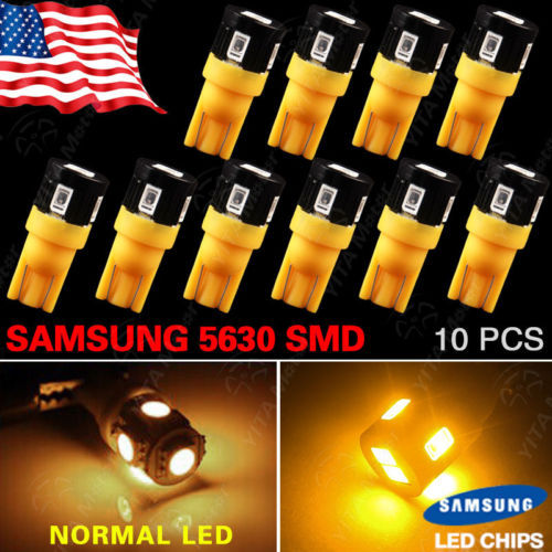 Wholesale Price Car led Lights 10pcs T10 921 High Power Amber/Yellow 5630 6-LED High Mount Stop Interior Lights Bulbs for Ford(China (Mainland))