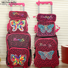 new hand knitting butterfly children trolly school bag set trolley luggage backpack kids luggage 3pc one set for boys and girls(China (Mainland))