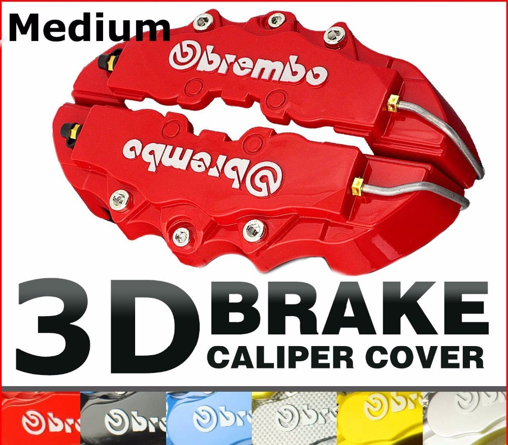 1pair Middle Size 3D Car Brake Caliper Brembo Style 5 Colors Red/Black/Yellow/Blue/Silver Decorate Wheel Front&Rear(China (Mainland))