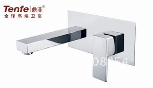 new arrivel free shipping wholesale Single Handle Chrome Wall-mount Bathroom Sink Faucet /brass faucet/ wall fixed fashion basin(China (Mainland))