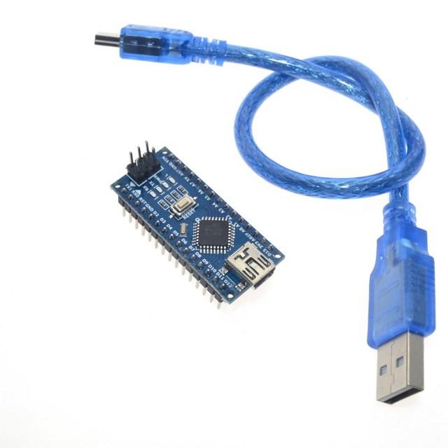 Бесплатная доставка для Arduino Nano V3.0 контроллер ATMEGA328P ATMEGA328 оригинальный CH340 + кабель USB