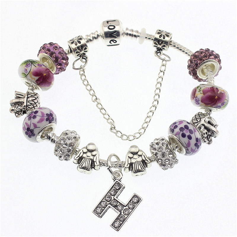 DGW various style Fashion Jewelry Crown charm Bracelets & Bangles violet Glass European Beads fits bead bracelets for Women Gift(China (Mainland))