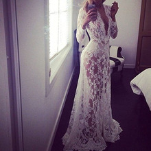 2016 Summer European Style Womens Sexy Lace Embroidery Maxi Solid White Dress Long Sleeve Deep V Neck Vestidos Plus Size S-XL(China (Mainland))