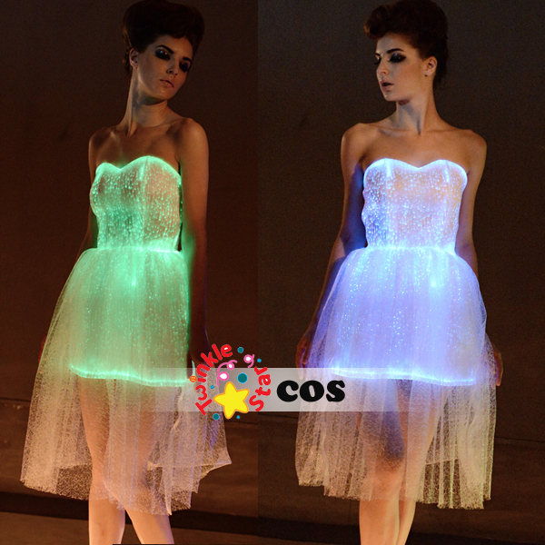 2016Sexy costumes fashion lace vstidos luminous dress led party dress women Bridal evening party light up Dress(China (Mainland))